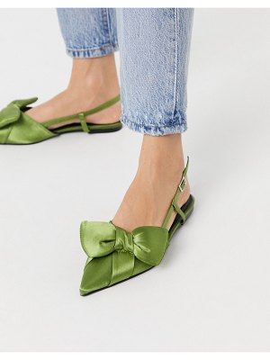 ASOS DESIGN liliana pointed bow slingback ballet flats in green