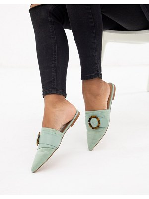 ASOS DESIGN limit buckle pointed mules in pale green croc