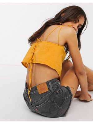 ASOS DESIGN linen square neck cami with tie shoulder in mustard-yellow