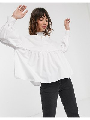 ASOS DESIGN long high neck smock top in cotton in ivory-white