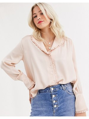 ASOS DESIGN long sleeve blouse with frill collar detail-no color