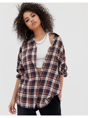 ASOS DESIGN long sleeve boyfriend shirt in brown check-multi
