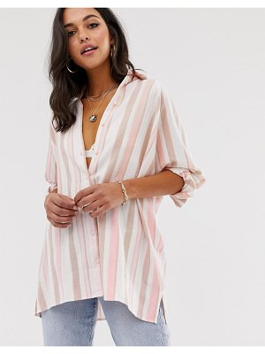 ASOS DESIGN long sleeve boyfriend shirt in brushed stripe