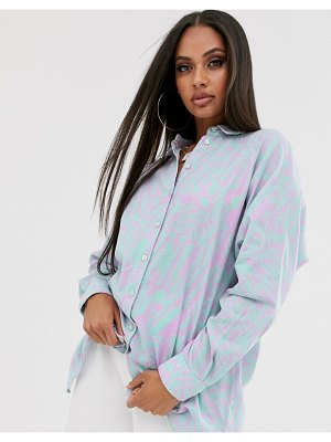 ASOS DESIGN long sleeve boyfriend shirt in graphic print