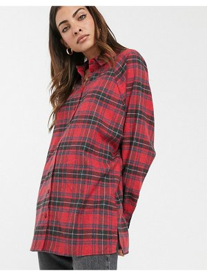 ASOS DESIGN long sleeve boyfriend shirt in red and black plaid check-multi