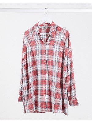ASOS DESIGN long sleeve boyfriend shirt in red and white check-multi