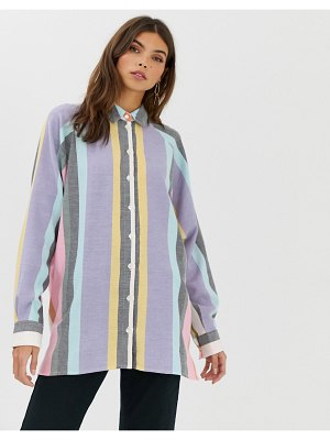 ASOS DESIGN long sleeve boyfriend shirt in stripe-multi