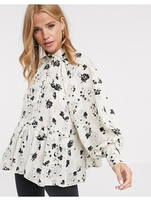 ASOS DESIGN long sleeve button front sheer top in ditsy floral print