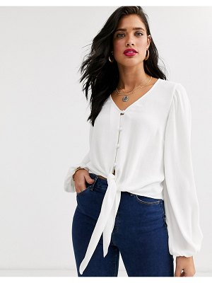ASOS DESIGN long sleeve button front top with tie detail-no color