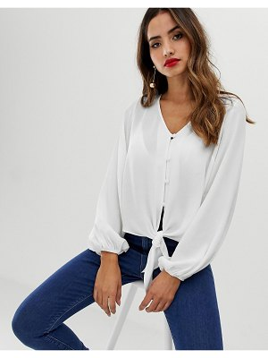 ASOS DESIGN long sleeve button front top with tie detail-white