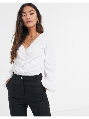 ASOS DESIGN long sleeve cotton bodysuit with ruched front in white