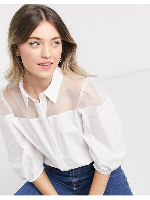 ASOS DESIGN long sleeve cotton shirt with organza insert in white