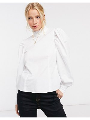 ASOS DESIGN long sleeve cotton top with ruffle high neck in white