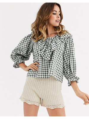 ASOS DESIGN long sleeve gingham top with ruffle detail