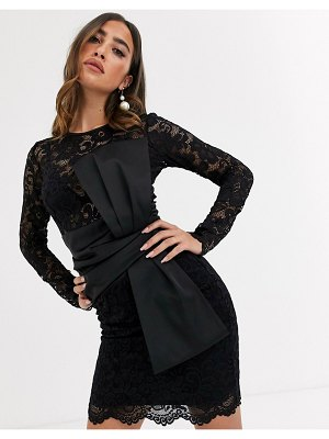 ASOS DESIGN long sleeve lace waist satin bow detail mini dress-black