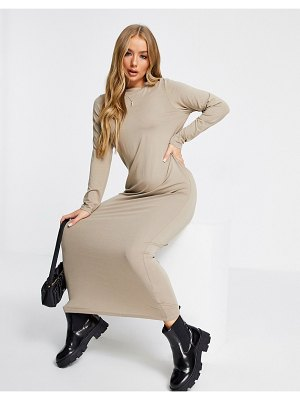 ASOS DESIGN long sleeve maxi t-shirt dress in taupe-beige