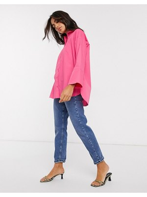 ASOS DESIGN long sleeve oversized cotton shirt in pink