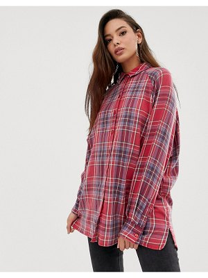 ASOS DESIGN long sleeve plaid check boyfriend shirt-multi