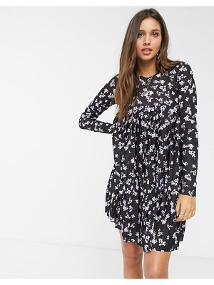 ASOS DESIGN long sleeve pleated mini dress in floral print-multi