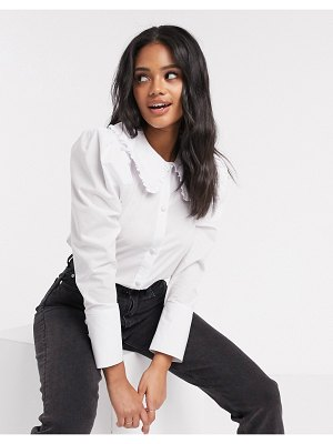 ASOS DESIGN long sleeve shirt with frill collar detail in white