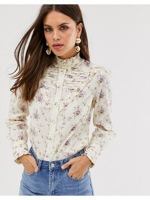 ASOS DESIGN long sleeve shirt with ruffle detail in vintage floral-multi