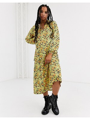 ASOS DESIGN long sleeve tie front midi dress in yellow floral-multi