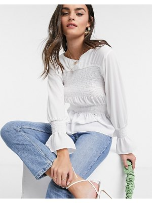 ASOS DESIGN long sleeve top with shirred panel in ivory-white