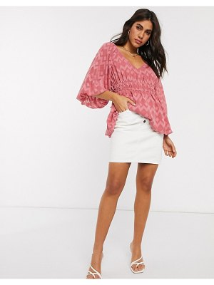ASOS DESIGN long sleeve top with tie detail in sheer chevron in blush-pink