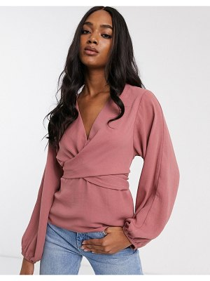 ASOS DESIGN long sleeve top with twist front detail-no color