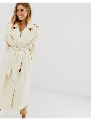 ASOS DESIGN longline trench coat with statement buttons-cream