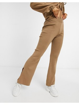 ASOS DESIGN lounge two-piece knitted wide leg pants in brown
