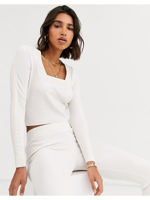 ASOS DESIGN lounge two-piece square neck sweater with woven detail-cream