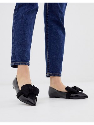 ASOS DESIGN ludo bow pointed ballet flats in black