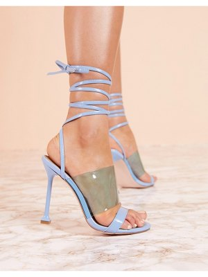 ASOS DESIGN luxe hot barely there heeled sandals in blue