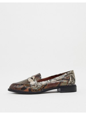 ASOS DESIGN mail loafers in snake-brown