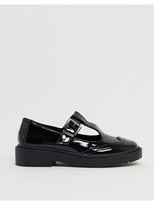 ASOS DESIGN maisie chunky mary-jane flat shoes in black patent
