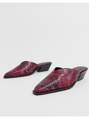 ASOS DESIGN mambo western leather mule in red snake