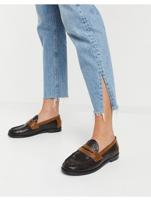ASOS DESIGN manila leather loafers in brown mix