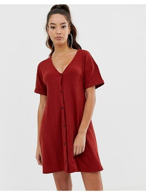 ASOS DESIGN marl rib button through swing dress-red