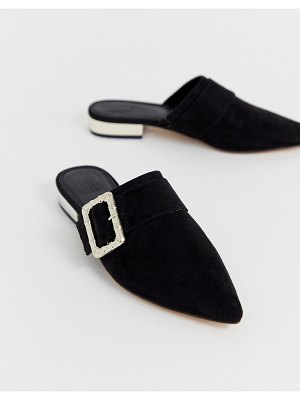 ASOS DESIGN mascot bamboo buckle pointed mules-black