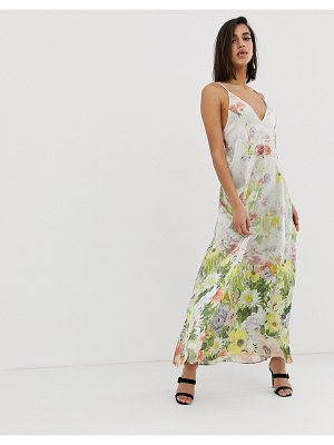 ASOS DESIGN maxi cami satin trapeze dress in meadow floral print-multi
