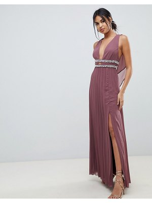 ASOS DESIGN maxi dress in pleat with embellished tape detail-red