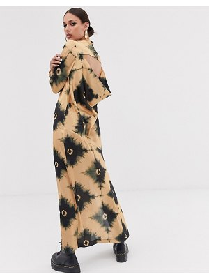 ASOS DESIGN maxi dress with cowl back in tie dye print-multi