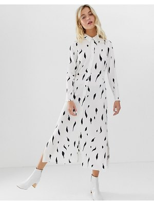 ASOS DESIGN maxi shirt dress in mono squiggle print-multi
