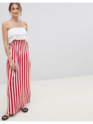 ASOS DESIGN maxi skirt with paperbag waist in stripe