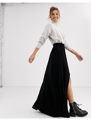 ASOS DESIGN maxi skirt with shirred waist in black
