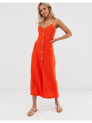 ASOS DESIGN maxi slubby cami swing dress with faux wood buttons-red