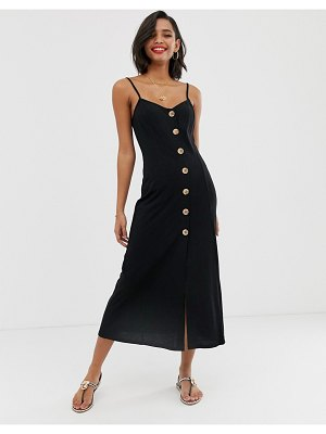 ASOS DESIGN maxi slubby cami swing dress with faux wood buttons-black