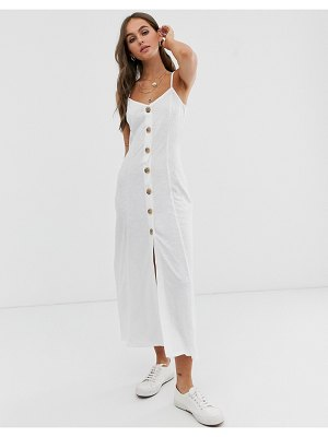 ASOS DESIGN maxi slubby cami swing dress with faux wood buttons-white
