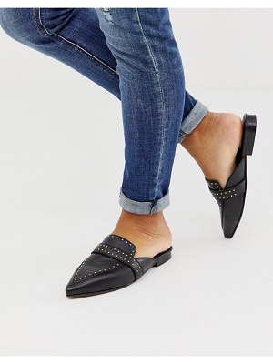 ASOS DESIGN maximum studded leather pointed mule in black
